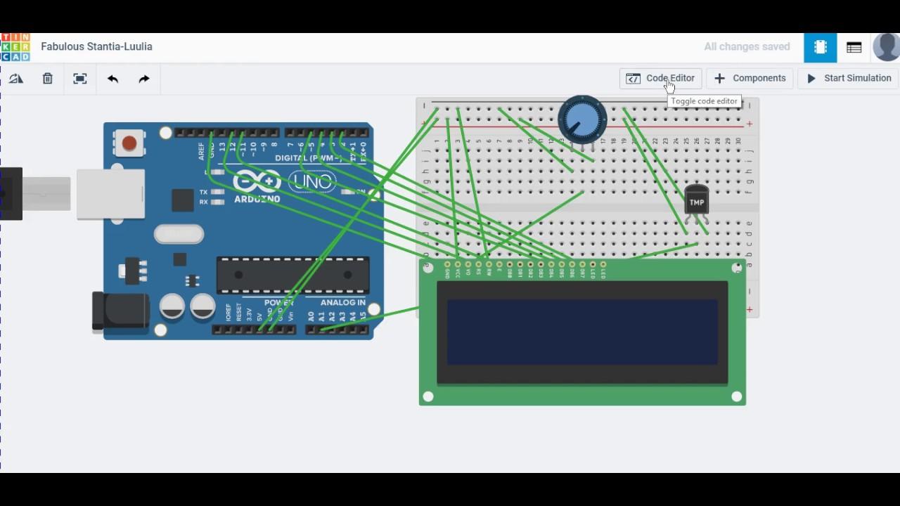 Temperature Sensor with LCD display arduino