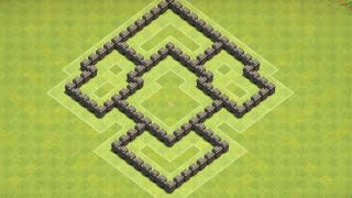 Clash of Clans Town Hall 5 (coc th5 war base) town hall 5 base defense farming