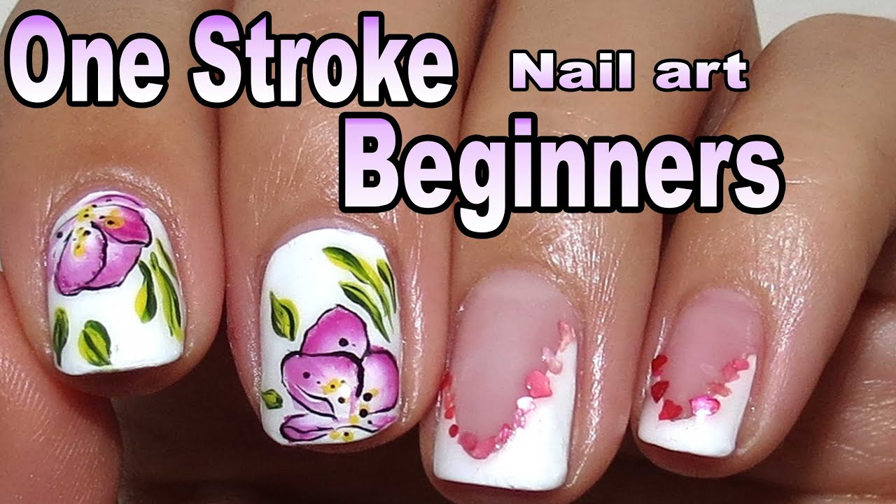 Simple one stroke nail art painting for beginners and short nails simple one stroke nail art painting for beginners and short nails youtube prinsesfo Images