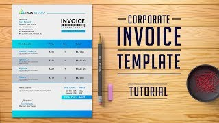 How To Design Invoice Template In Photoshop | Tutorial | PE44