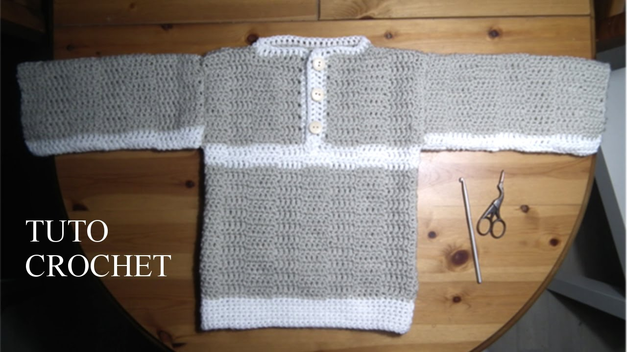 tuto crochet comment faire un pull bateau de 5 6 ans youtube. Black Bedroom Furniture Sets. Home Design Ideas