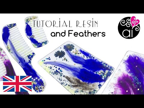 Tutorial Feathers and Epoxi Resin   Combs and Organizer's Cover   ENGLISH version