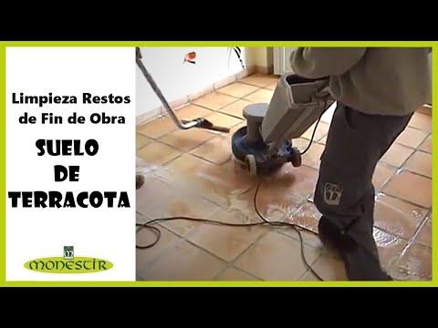 1 limpieza de restos de fin de obra en terracota youtube for Pintura para suelos de terrazo