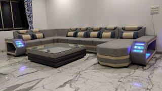Best u shape sofa with LED light #sofa #furniture