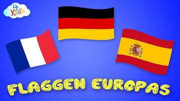 Alle Flaggen und Länder Europas lernen für Kinder und Kleinkinder (deutsch)