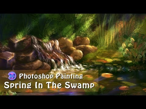 Photoshop Landscape Digital Speed Painting ~ Spring In The Swamp