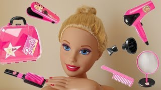 Barbie Hair Care Case! Barbie Color, Cut and Curl Deluxe Styling Head - Hairdresser Barbie Doll