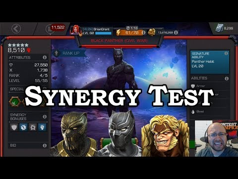 4/55 Black Panther + Killmonger + Sabretooth Synergy Test | Marvel Contest Of Champions