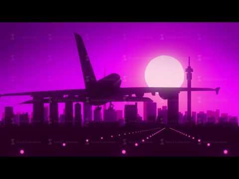 Johannesburg South Africa Airplane Landing Skyline Purple Violet Background