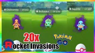 20x TEAM ROCKET INVASIONS & CATCHING ALL SHADOW POKEMON in Pokemon Go!