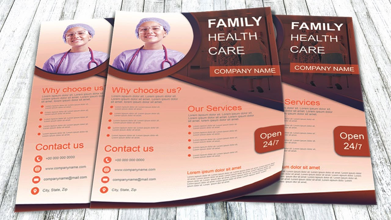 Photoshop Tutorial Healthcare Flyer Template Youtube