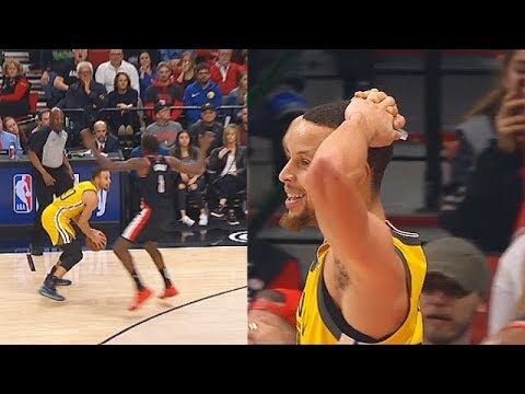Stephen Curry Can't Believe Non-Call Foul By Refs But Damian Lillard Gets Foul Call Shortly After!