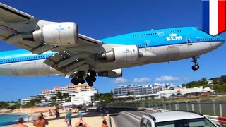 Jet blast kills tourist: fence-surfing woman at Maho Beach blown away by jet blast - TomoNews