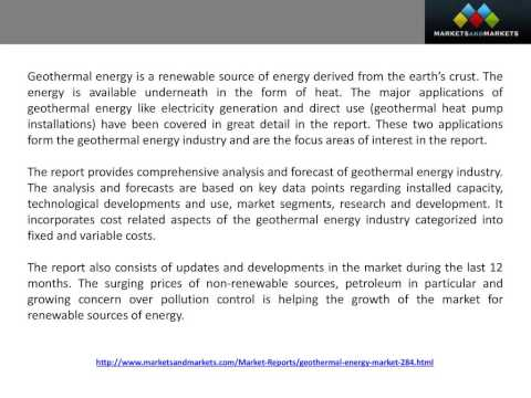 Global Geothermal Installed Capacity Use is expected to reach 120,300 MW by 2015
