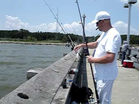 Point lookout pier maryland youtube for Point lookout fishing