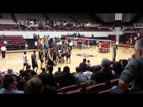 Match Point Hawaii vs. Stanford Men's Volleyball 2014 Maples Pavilion Stanford California