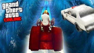 ЦУНАМИ ПАРКУР! СНЕЖНАЯ ГОНКА НА ДРАНДУЛЕТАХ! (GTA 5 Online ГОНКИ)