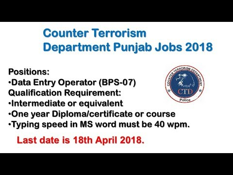 Counter Terrorism Department Punjab Jobs 2018