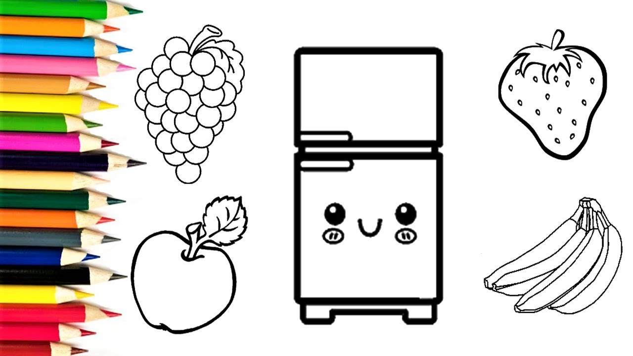 How to Draw Fridge and Fruits  Learn Colors with Fruits