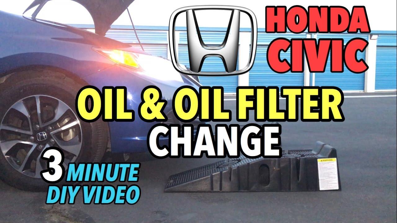 Honda Civic Sedan Oil Filter Change 2017 2016 3 Minute Diy Video