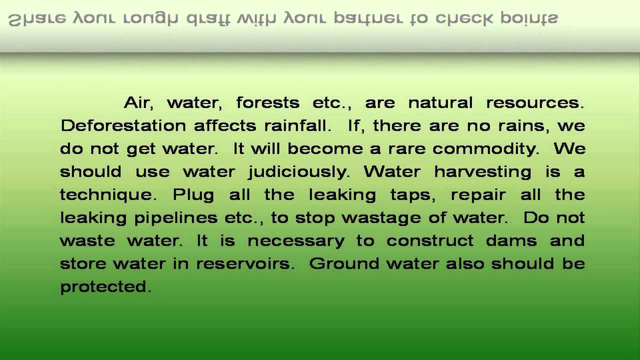 Short essay on save water save life