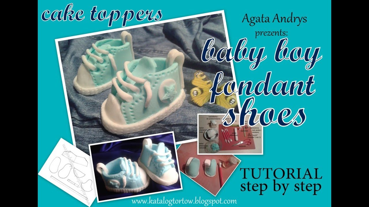 How to make fondant converse baby boy shoes cake topper for How to create a baby boy