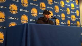 stephen curry postgame warriors 34 6 vs pistons 3pt klay rest more pick roll kevin durant