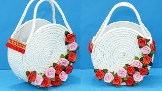 DIY Basket : Beautiful DIY Handmade Pusre from Rope / Rope Craft