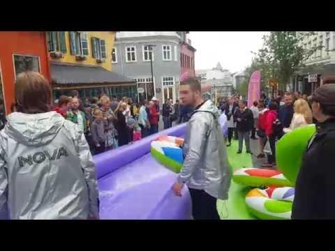 Water slide at the center of Reykjavik