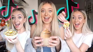 I ONLY ate TIKTOK Food Hacks for 24 hours!! TESTING TIKTOK VIRAL FOOD HACKS!
