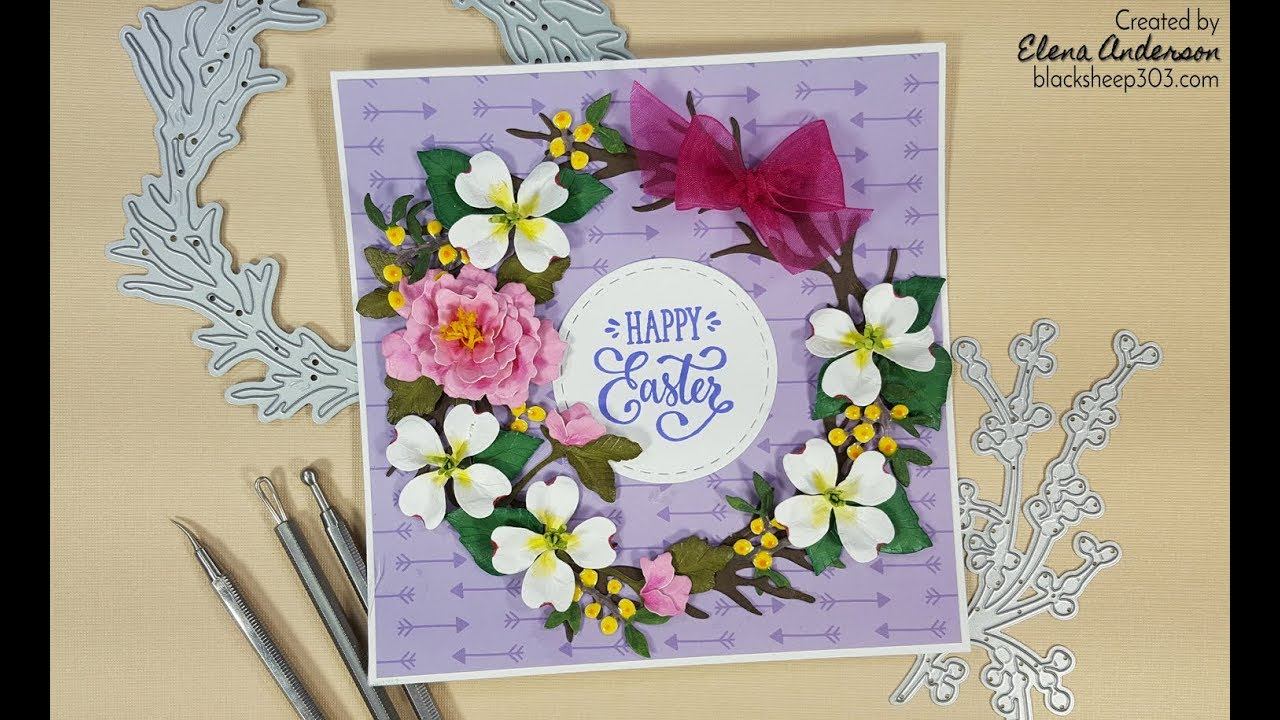 Garden Notes Peony Dogwood Easter Wreath Card With Elizabeth Craft Designs