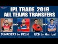 Download IPL 2019 New Signing & Release Players List | CSK, MI, SRH, KKR, RCB, DD, RR, KXIP Transfer players