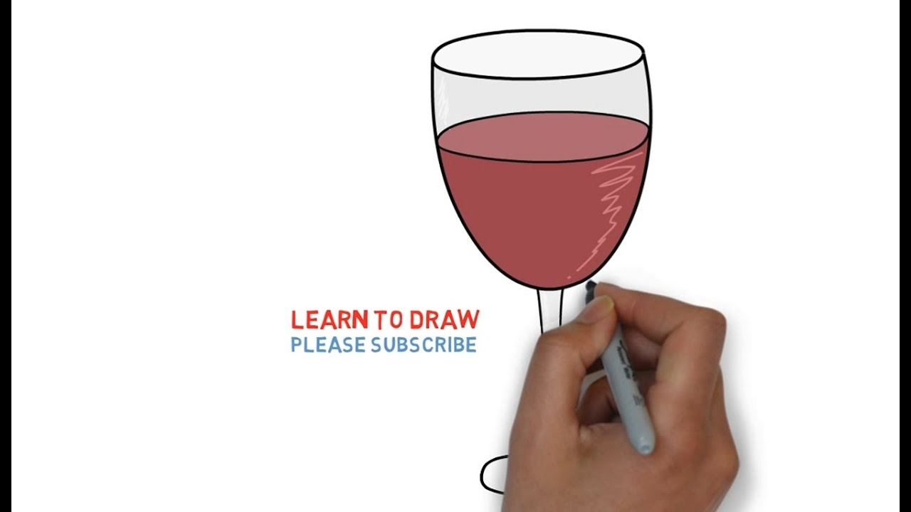 Easy Step For Kids How To Draw A Wine Glass Youtube