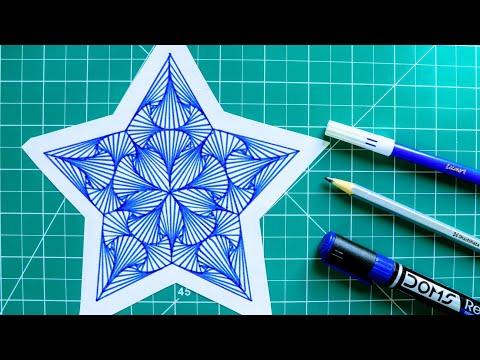 HOW TO DRAW SINGLE PATTERN DESIGN | DESIGN 15 | SIMPLE GEOMETRIC DESIGN/RAINBOW ART
