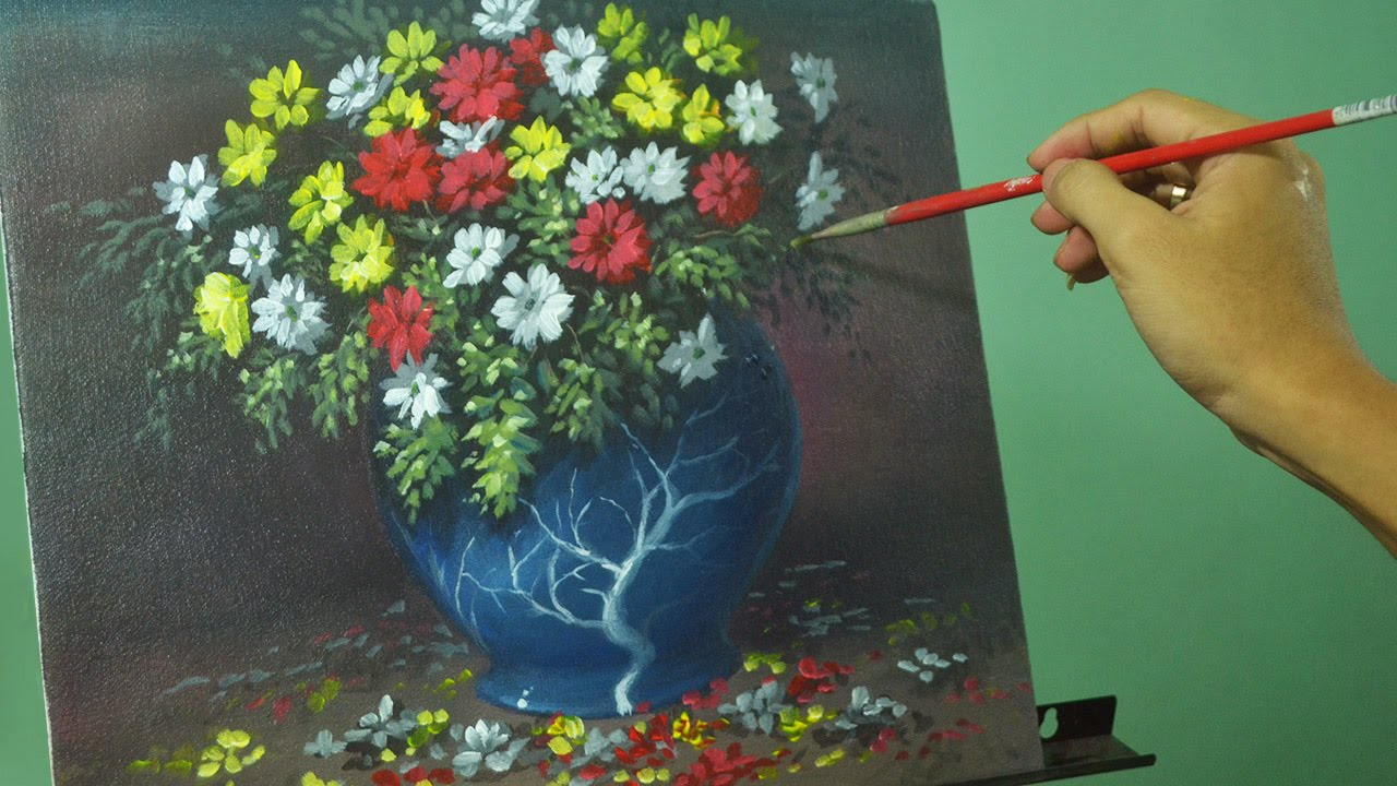 Acrylic Painting Lesson Flowers In The Vase By Jm Lisondra Youtube