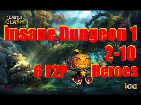 Castle Clash How To Beat Insane Dungeon 1-2 (F2P Heros Without MINO Or SM) HD