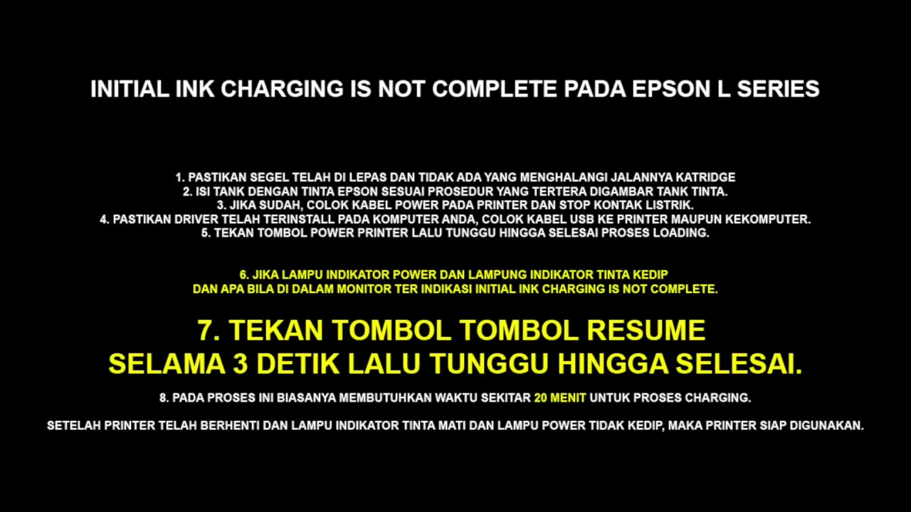 Initial Ink Charging Is Not Complete Error Pada Epson L360 dan L Series  Lainnya