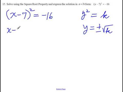 MA 119 Final Review 15 Solve a quadratic equation using