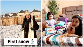 First snow fall in Winnipeg, Canada | Cozy Evening Routine | Indian Family Vlogs