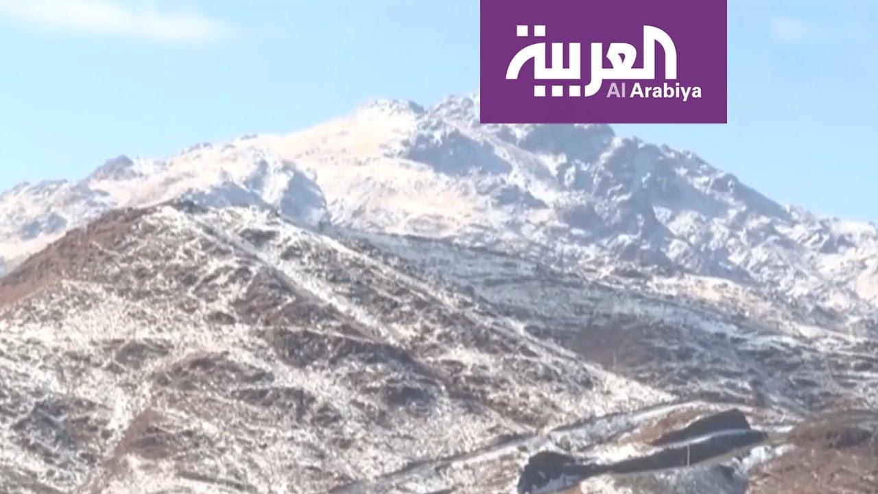 شاهد كيف أصبح جبل اللوز في تبوك بعد يوم من تساقط الثلوج عليه Youtube
