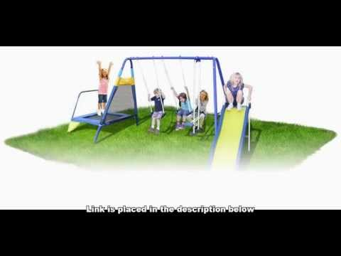 Swing Set With Trampoline Sportspower Almansor Metal Swing Slide