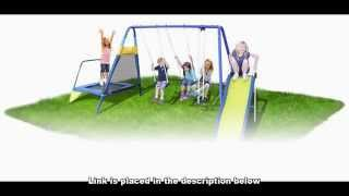 Swing Set With Trampoline: Sportspower Almansor Metal Swing Slide And Trampoline Set