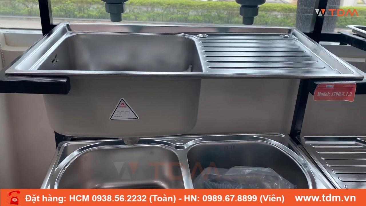TDM.VN | Bồn rửa chén inox Sơn Hà S78D | S78 – giá chậu rửa chén inox 304 1 ngăn 1 bàn