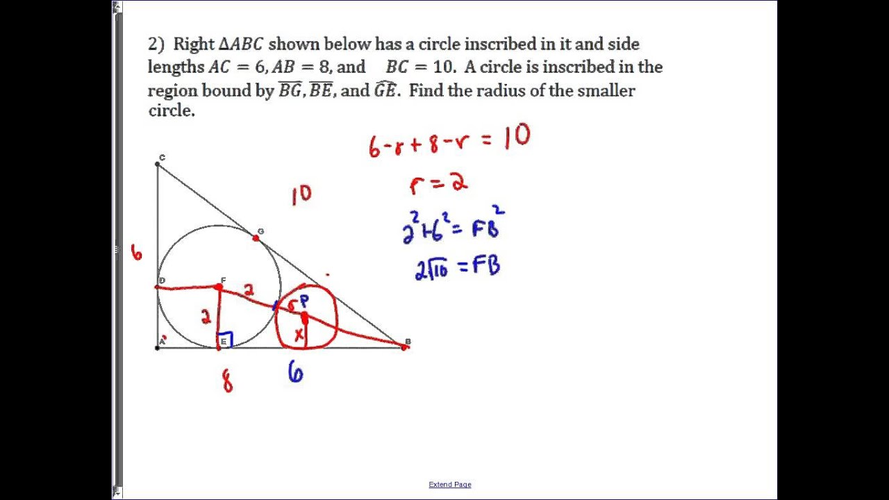 Problem: Circles Inscribed In Right Triangles