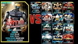 Real Steel WRB FINAL ATOM VS ALL ROBOTS UW II Series of fights NEW ROBOT (Живая Сталь)