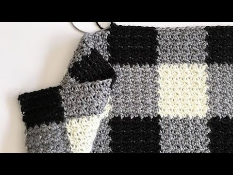 Crochet Griddle Stitch Gingham Blanket