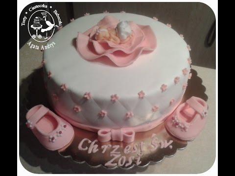 How To Make Cake For Baptism Girl Tort Na Chrzest święty Dla