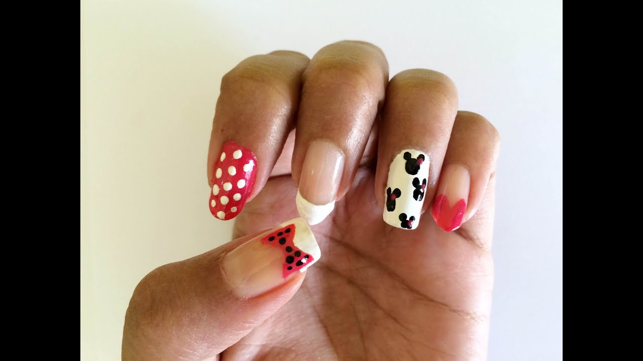 Minnie Mouse Nail Designs| On five different nail shapes - Minnie Mouse Nail DesignsOn Five Different Nail Shapes - YouTube