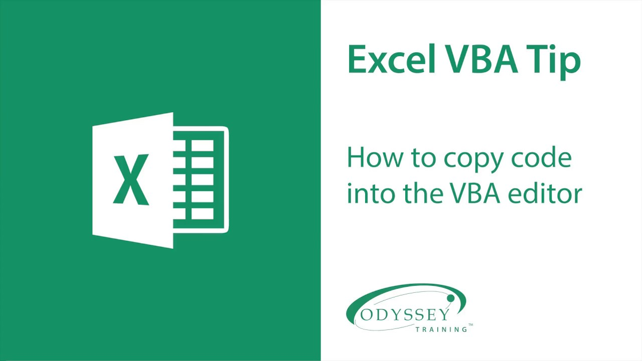 How to Copy Code into VBA Editor | Tips | Odyssey Training
