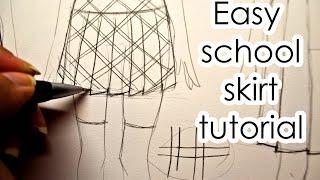 How To Draw Easy School Skirt Slow Tutorial 3 ways